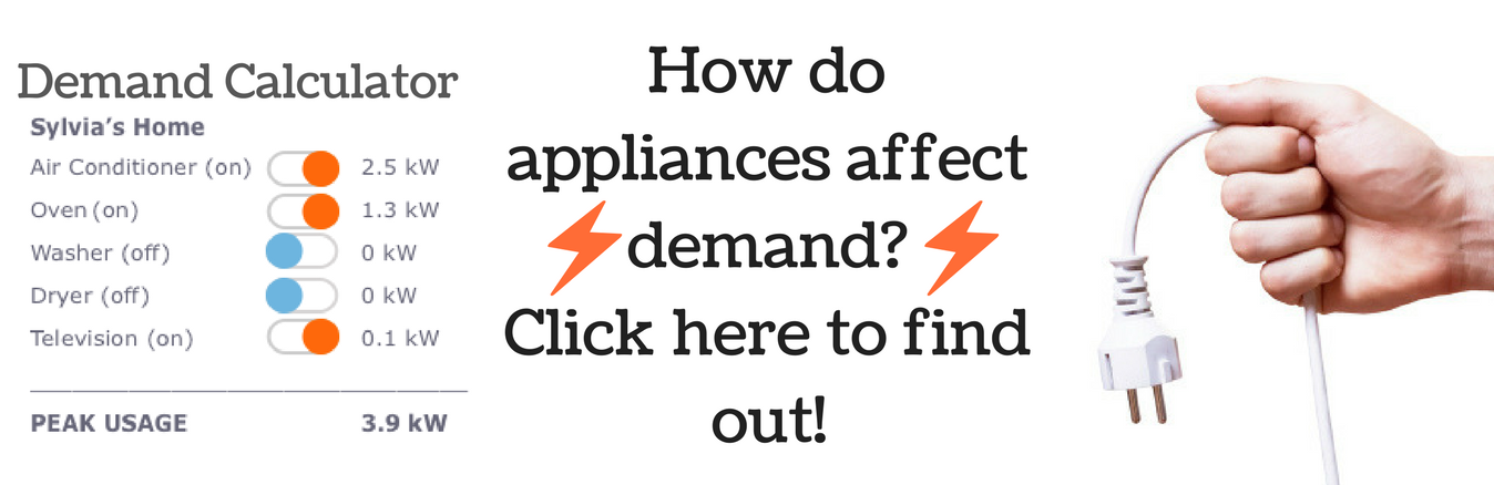 See how appliances affect your demand charge by using our demand calculator.